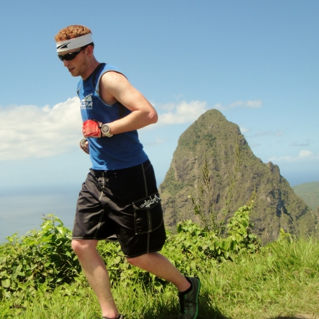 Running Tet Paul Trail in St. Lucia with one of the Pitons in the background